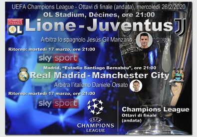 Champions League, Lione-Juventus e Real M.-Man City (ANSA)